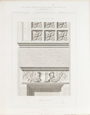 Facade Building Design Flowers and Ancients Sculptures 1883 Architecture Print
