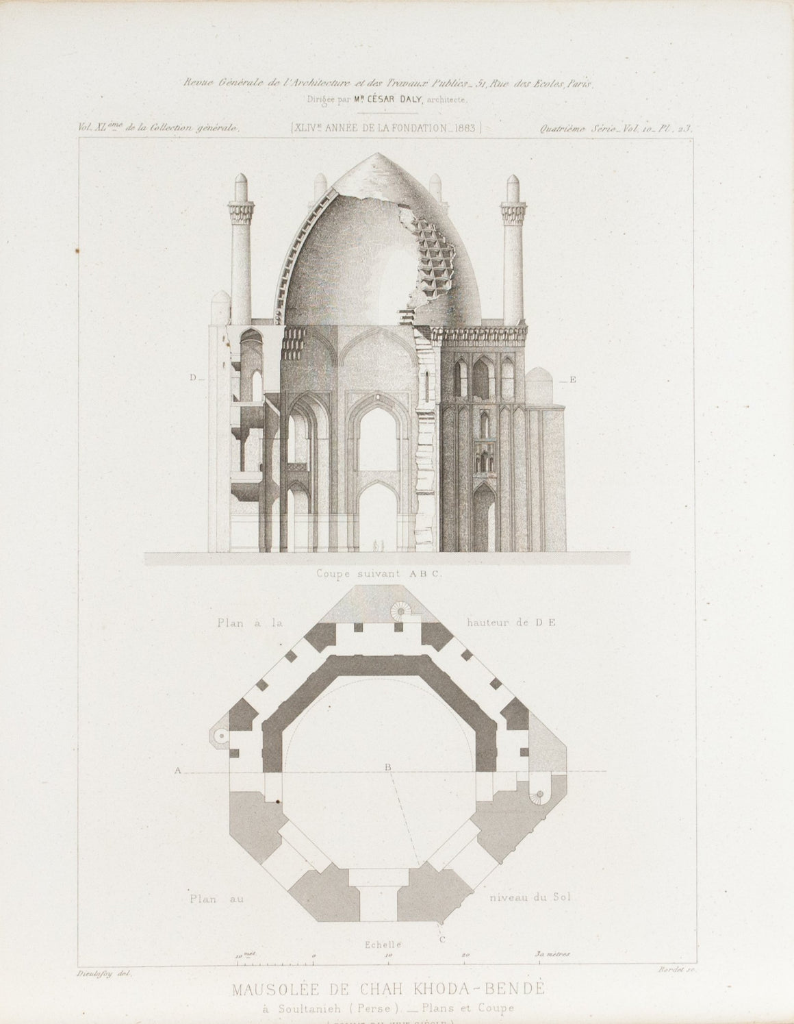 Dome Design Architectural Building Plans 1883 Architecture Print