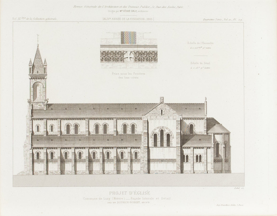 European Church Design 1883 Architecture Print