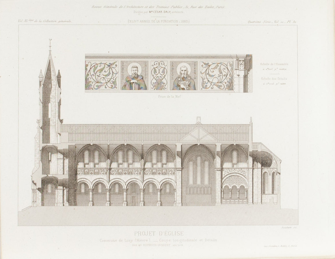 Church Design with Saints and Flowers Frescos on wall 1883 Architecture Print