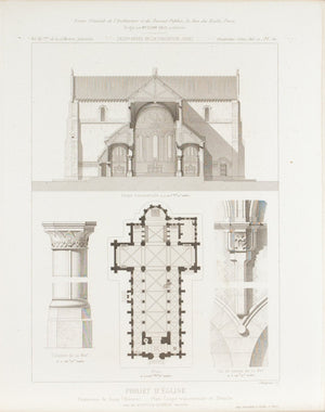 Architectural Church Plan Altar Design with Columns 1883 Architecture Print