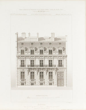 Hotel De Prony in Paris Architectural Facade Design 1883 Architecture Print