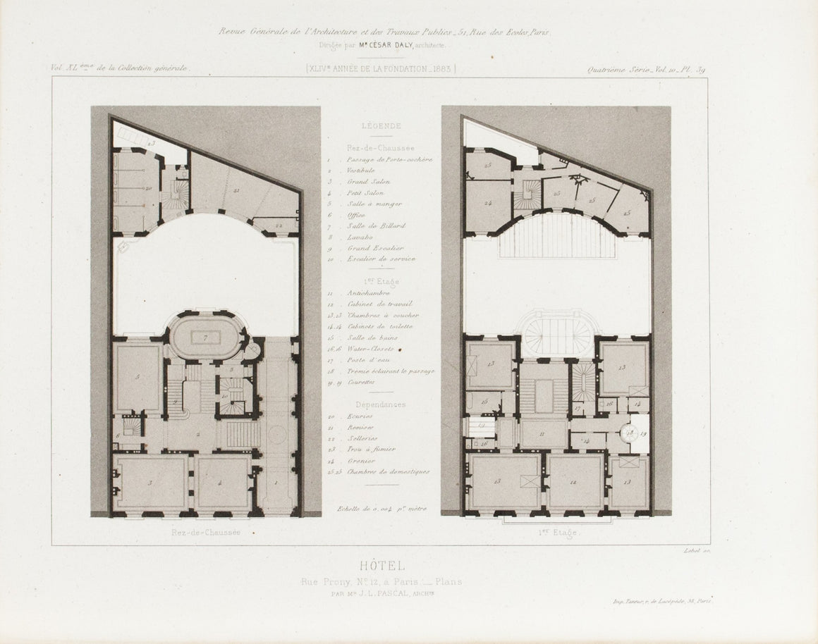 Hotel De Prony Buildings Plan 1883 Architecture Print