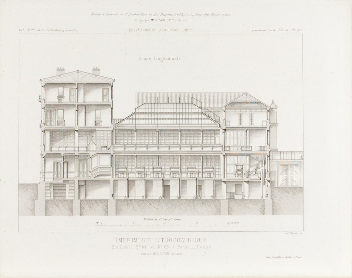 Building Design Saint-Michel Boulevard Publishing Co. 1883 Architecture Print