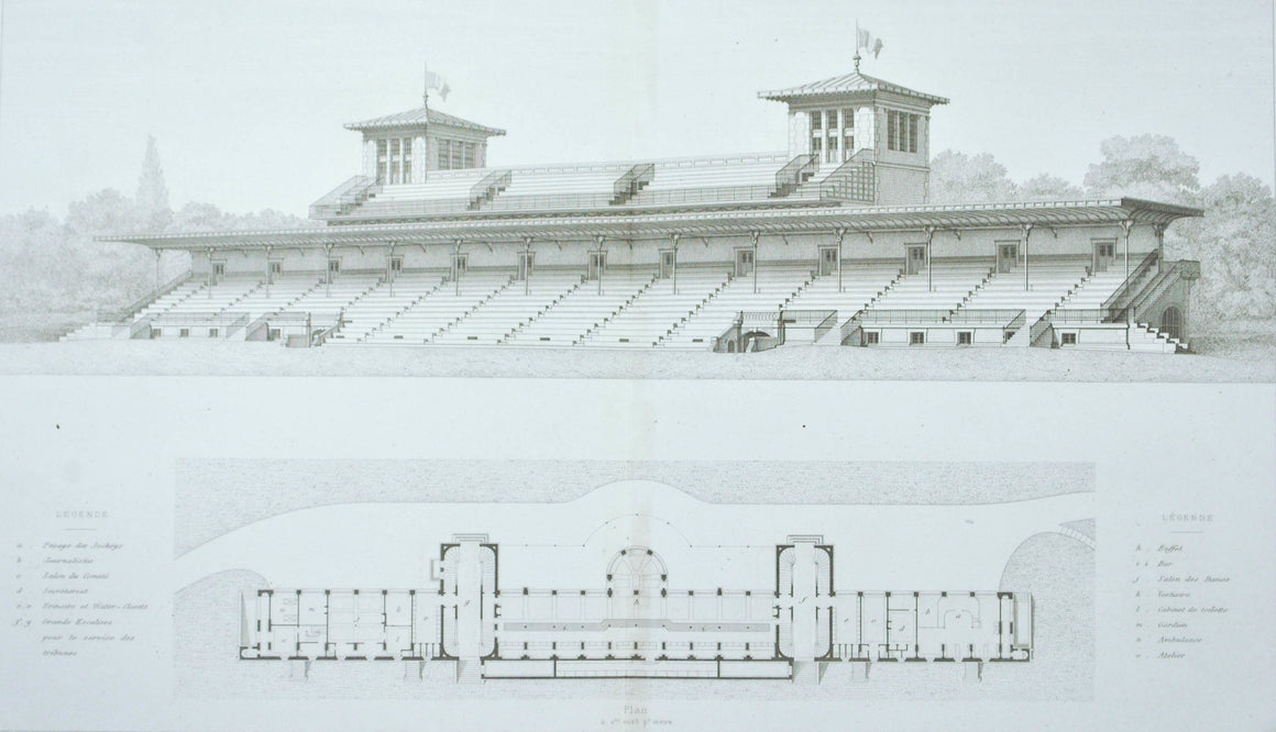 Chantilly Racecourse Track Building Plan 1883 Architecture Print