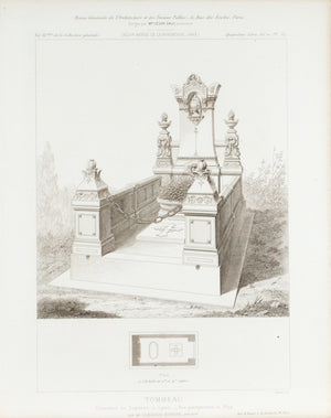 Tomb Architectural Plan with Ornate Carvings 1883 Architecture Print