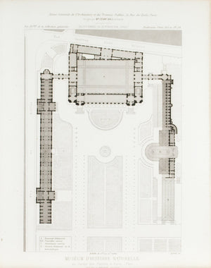 Paris National Museum of Natural History Building Plan 1883 Architecture Print