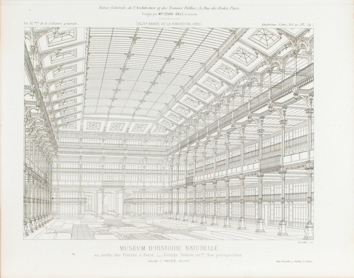 Interior Design of Paris National Museum of History 1883 Architecture Print