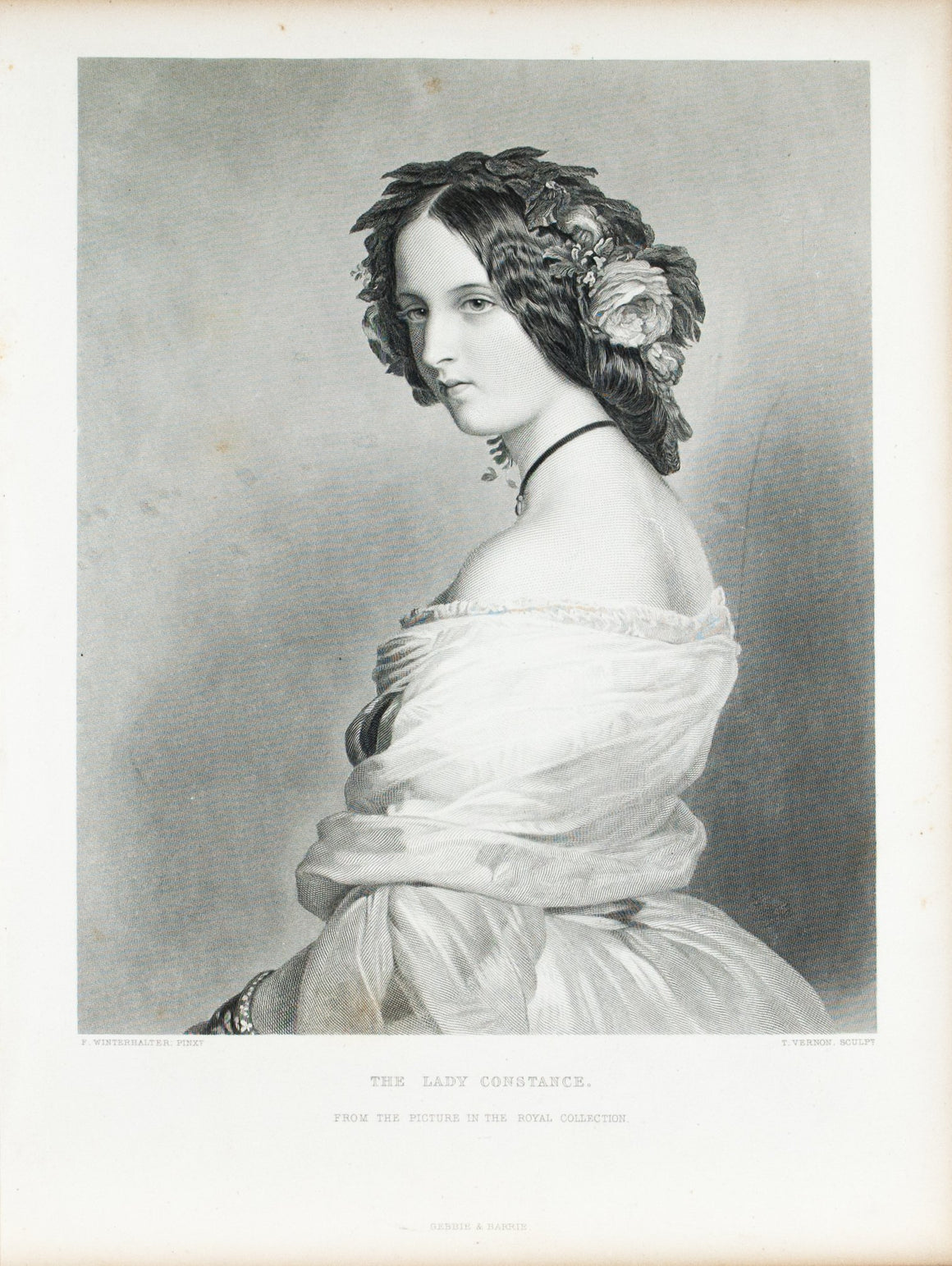 The Lady Constance Beautiful Victorian Lady c. 1880 Engraved Art Print