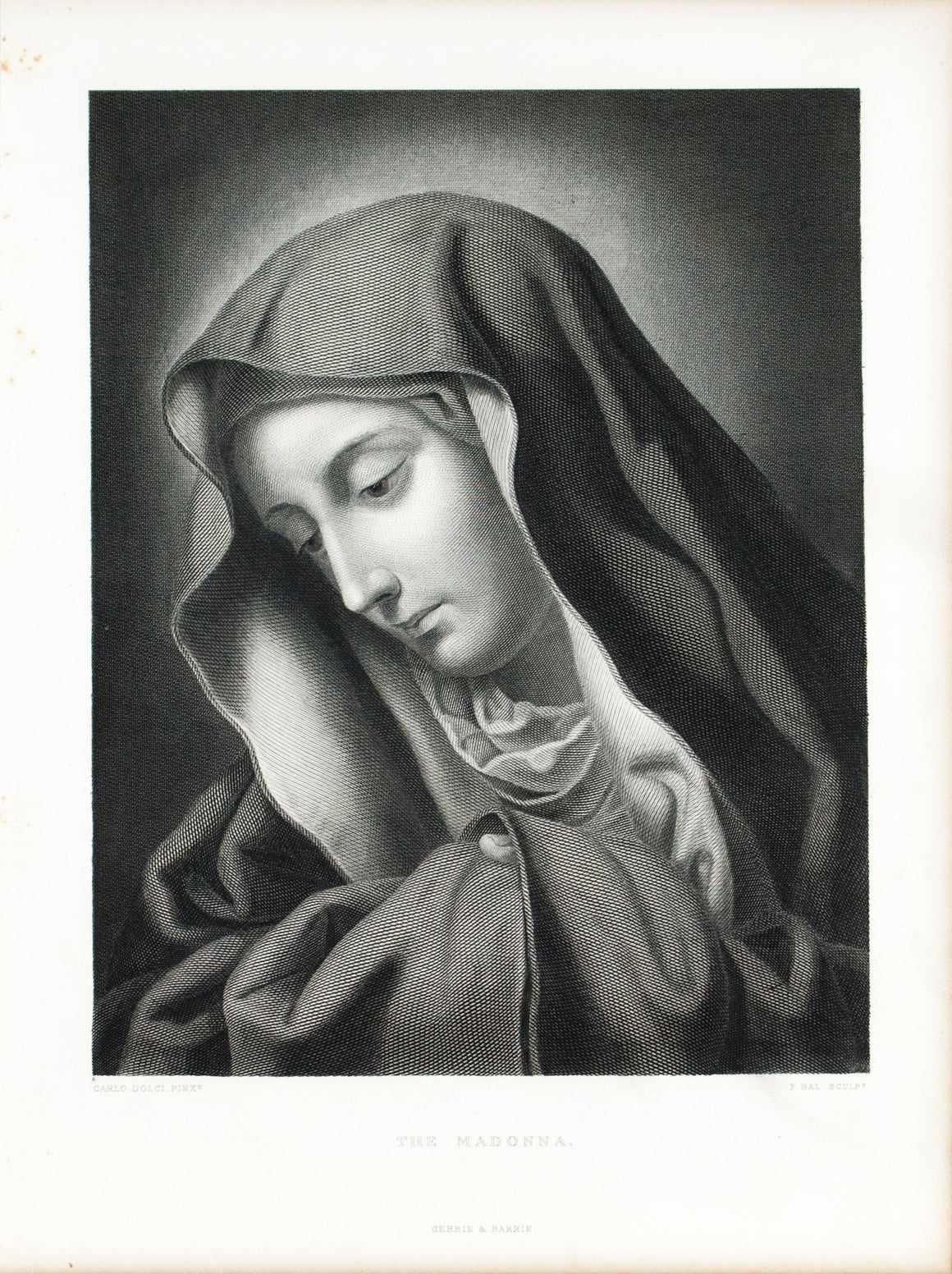 The Madonna Mater Dolorosa by Carlo Dolci  c.1880 Engraved Art Print