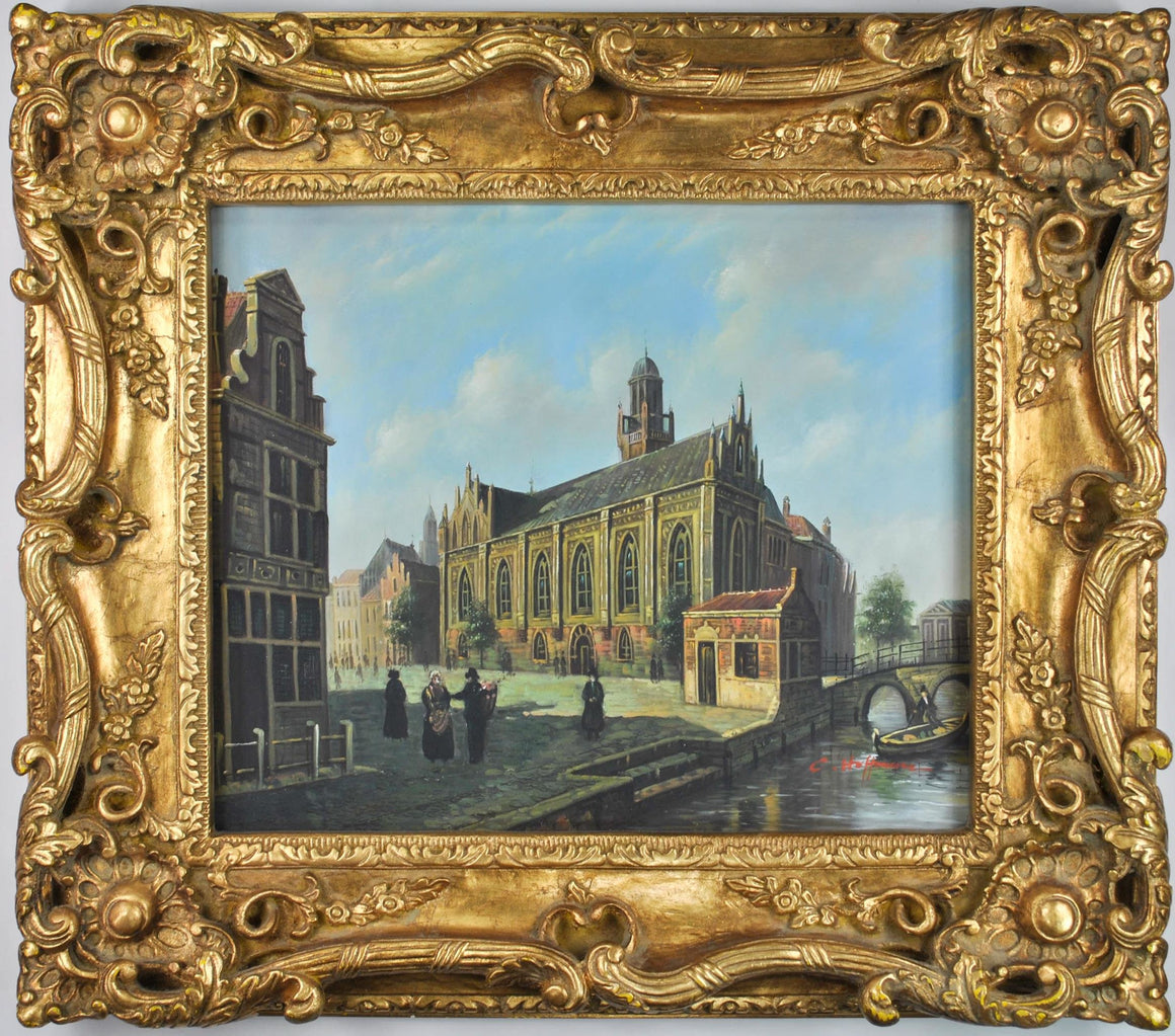 Church by the Canal Venice Italy C. Hoffman Oil Painting European Cityscape