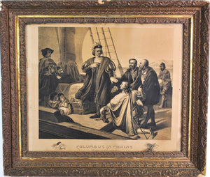 Columbus in Chains Refusing to be Released 1892 Engraving Antique Frame