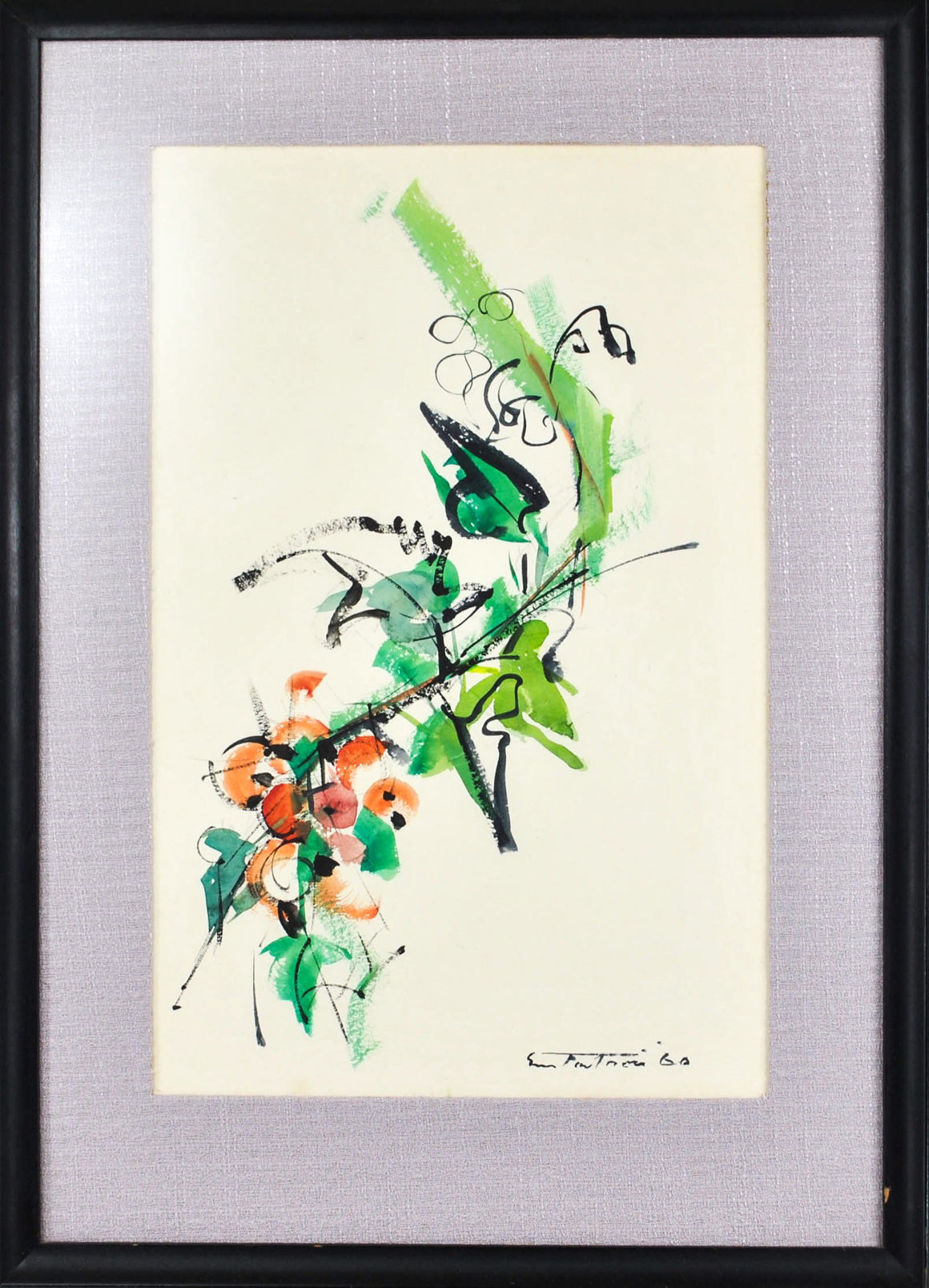 Tree Branch Abstract Watercolor Oriental Design Green and Orange