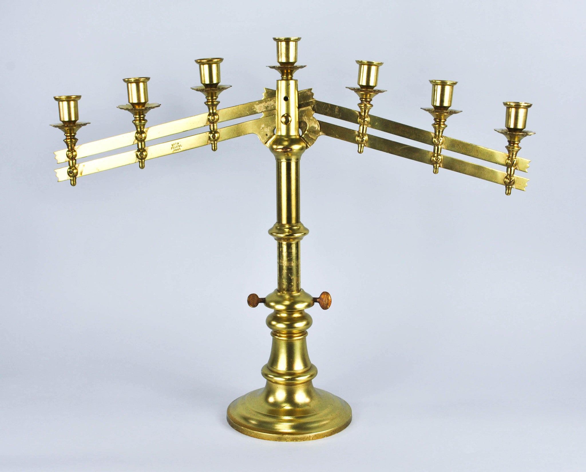 61e1d4e13 19th Century Adjustable Brass Menorah Altar Candelabra 7 Arm Candle Ho -  Historic Accents
