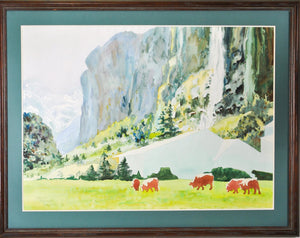 Circa 1980's Mountain Landscape with Cows Watercolor by Carol Pursell Baliles