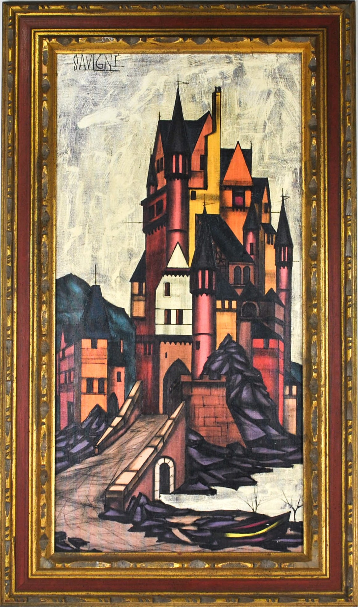 D.H. Savigne - Castle - Oil Painting - c 1960