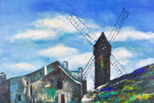 Landscape with Windmill Vintage Impressionist Style Oil Painting Signed