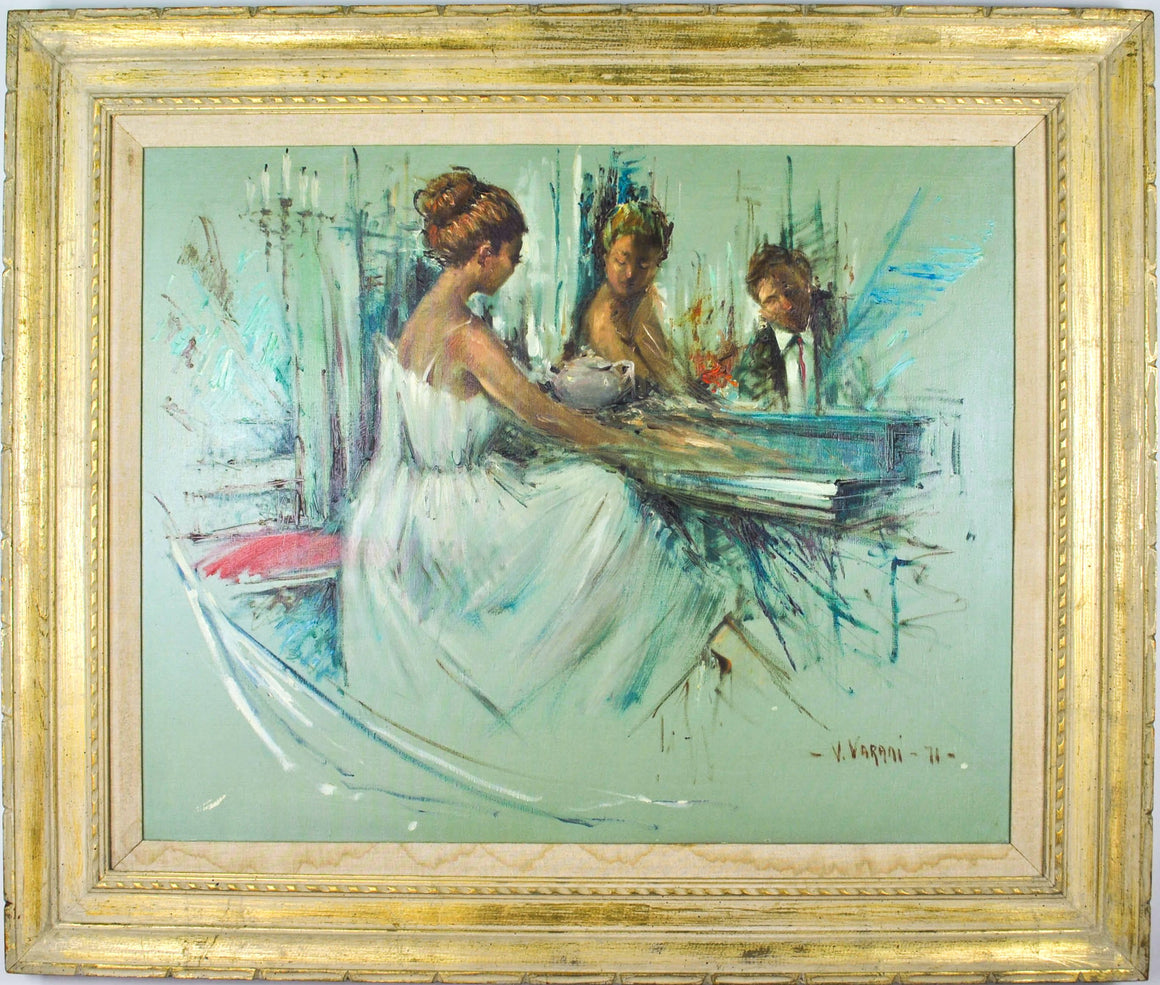 V. Varani - Young Woman Playing Piano - Signed Oil on Canvas - 1971