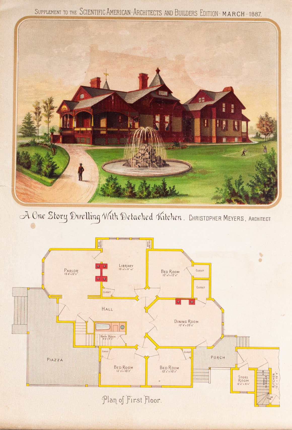 1887 One Story Dwelling with Detached Kitchen by Christopher Meyers - Scientific American