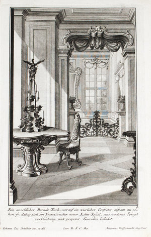 1735 Plate 4 - Parade Table with Confectur Tower - Schublers