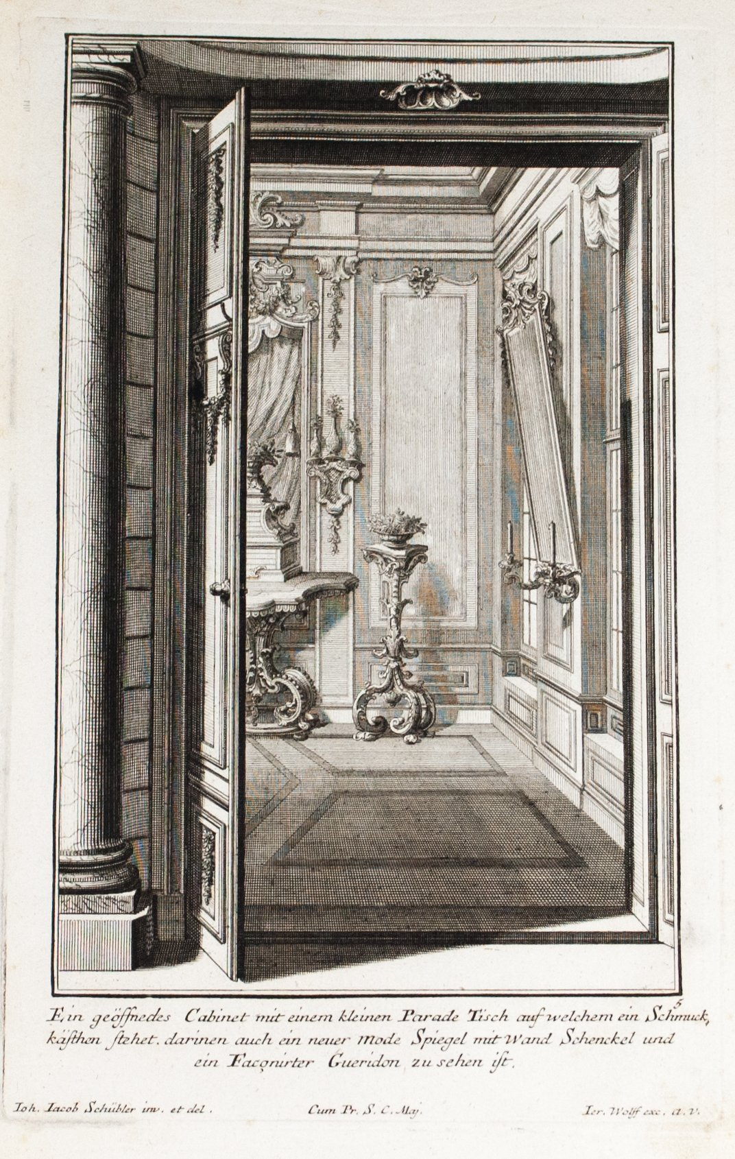 1735 Plate 5 - Cabinet Parade Table and Fashion Mirror - Schublers