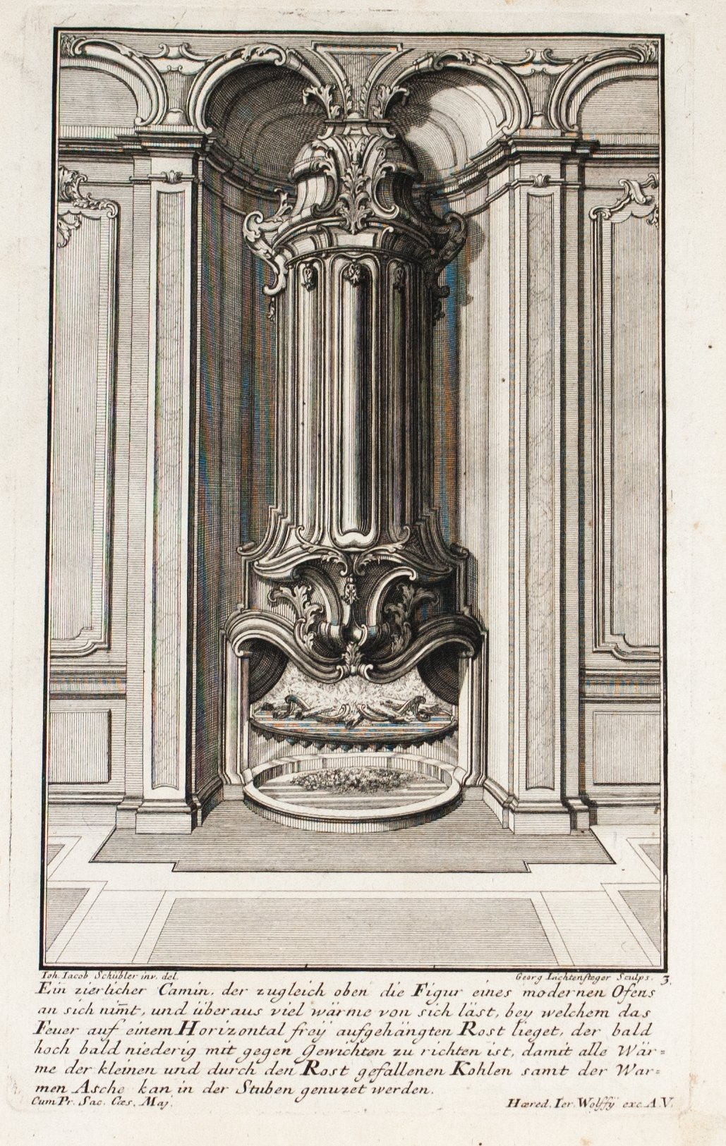 1735 Plate 3 - Column Fireplace - Schublers