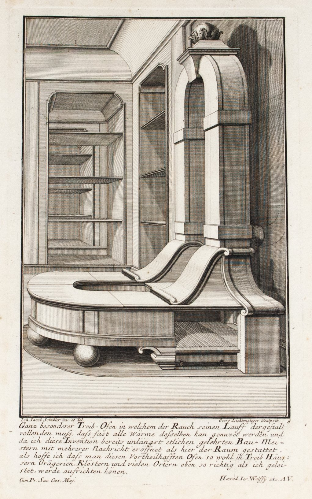 1735 Plate 6 - Complex Fireplace - Schublers