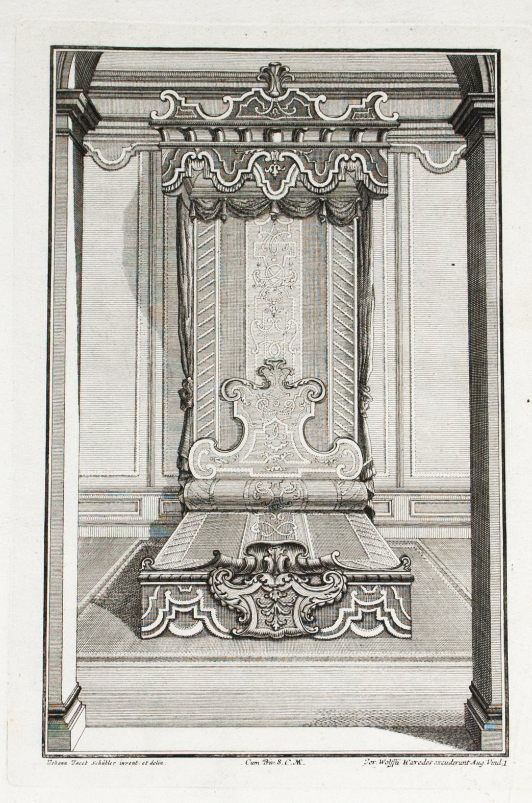 1735 Plate 1 - Ornate Bed - Schublers