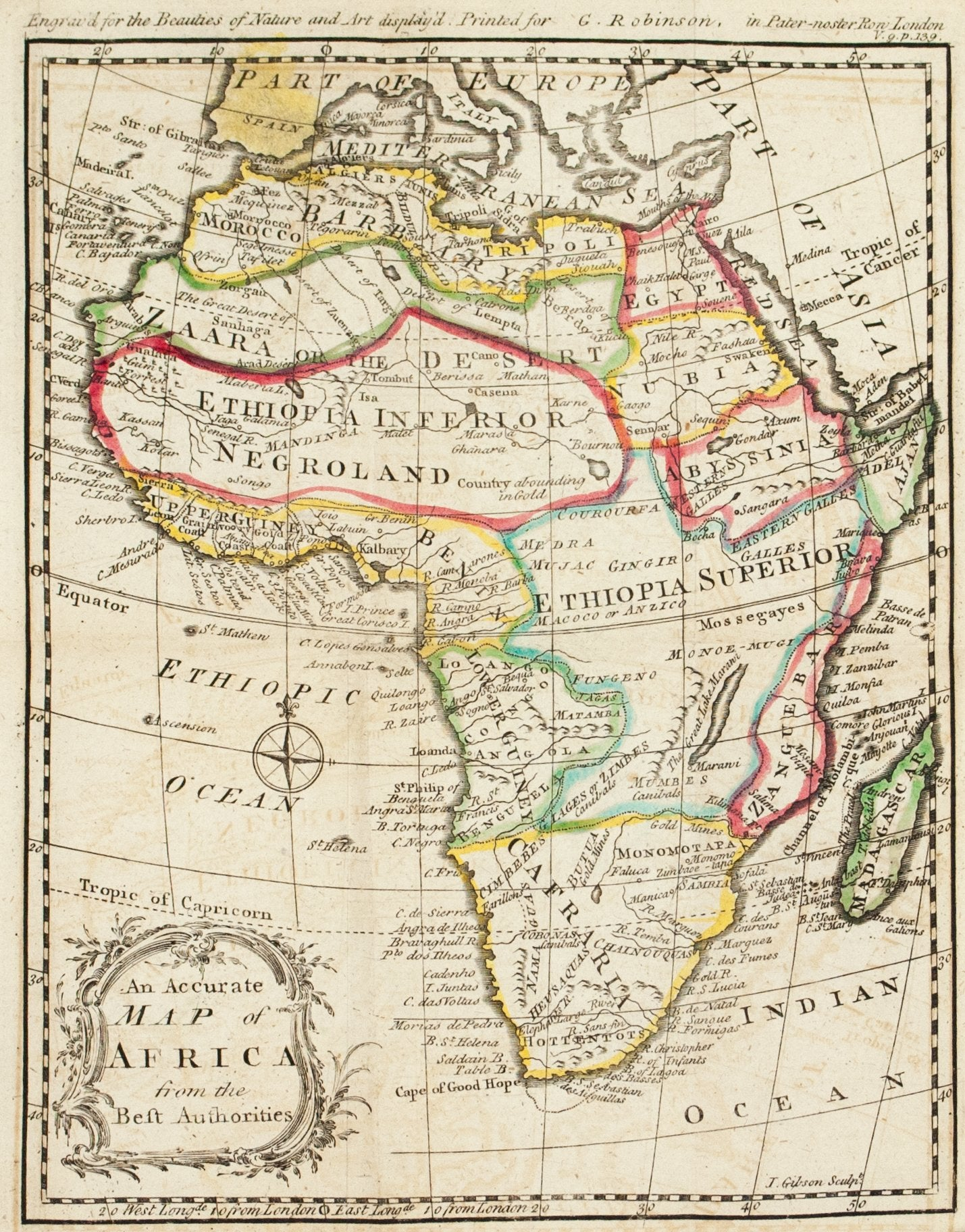 Accurate Map Of Africa.1774 An Accurate Map Of Africa From The Best Authorities J Gibson