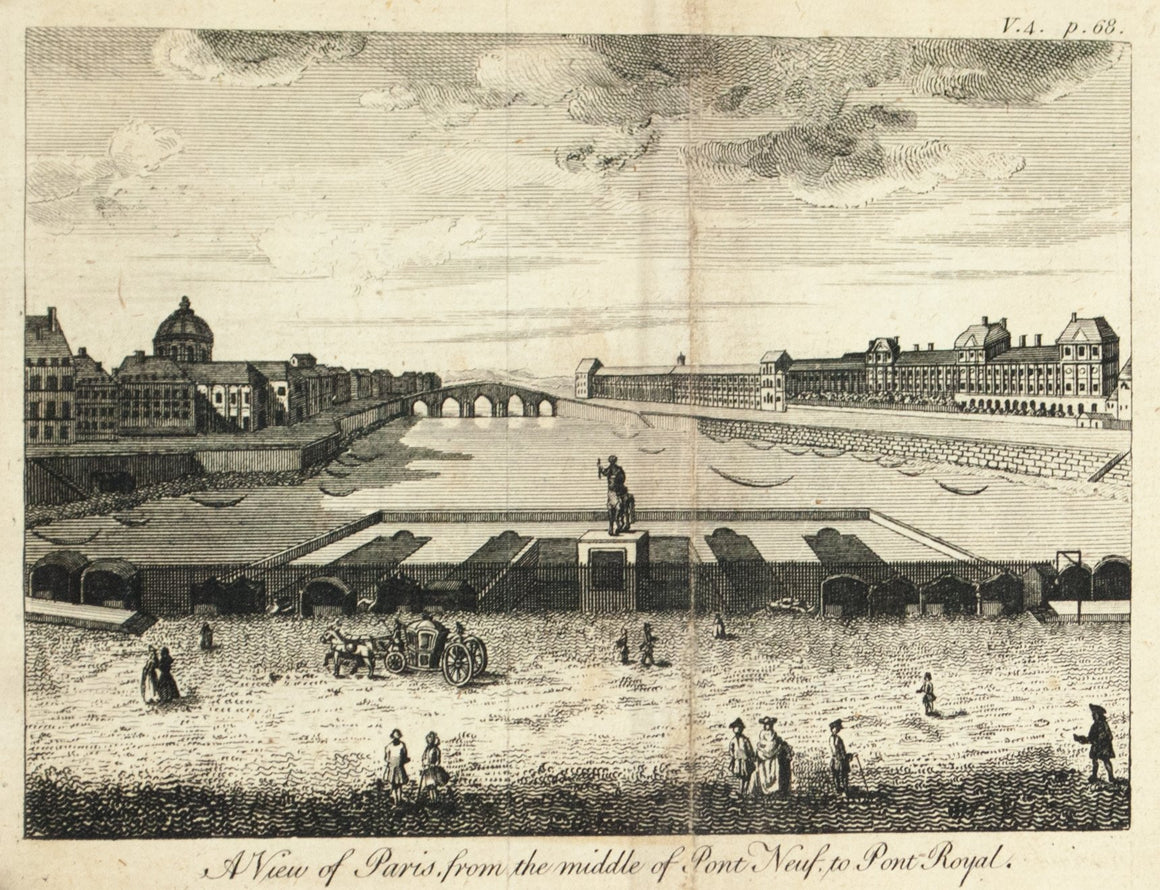 1774 A View of Paris from the middle of Pont Neuf to Pont Royal - Rigaud