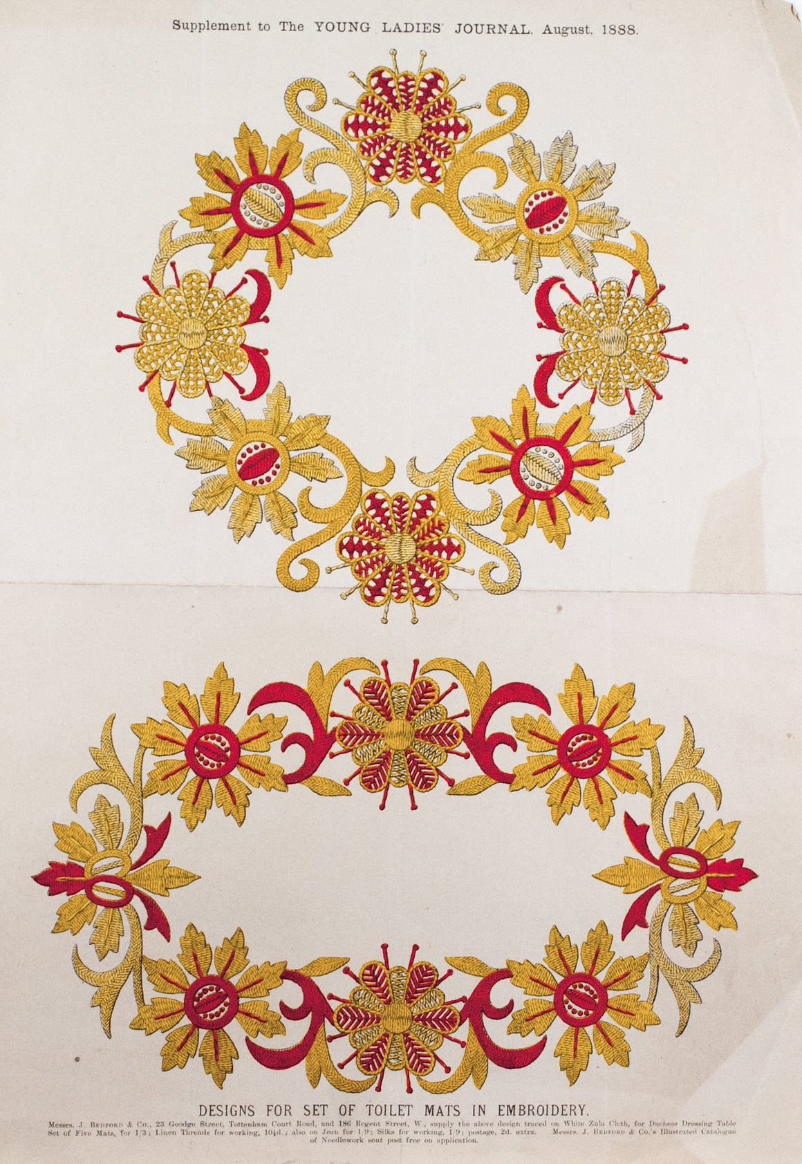 1888 Design for set of Toilet Mats in Embroidery - Messrs J. Bedford & Co