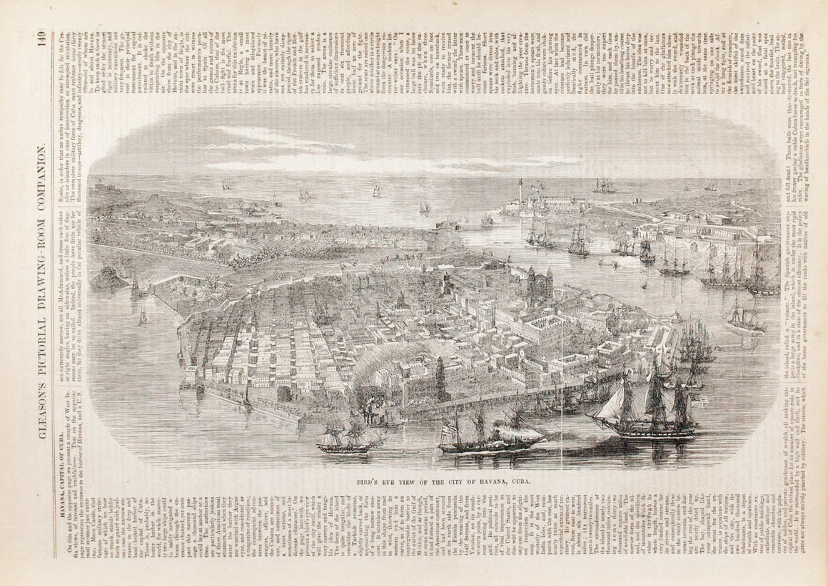 1854 Birds Eye View of Havana Cuba - Gleason