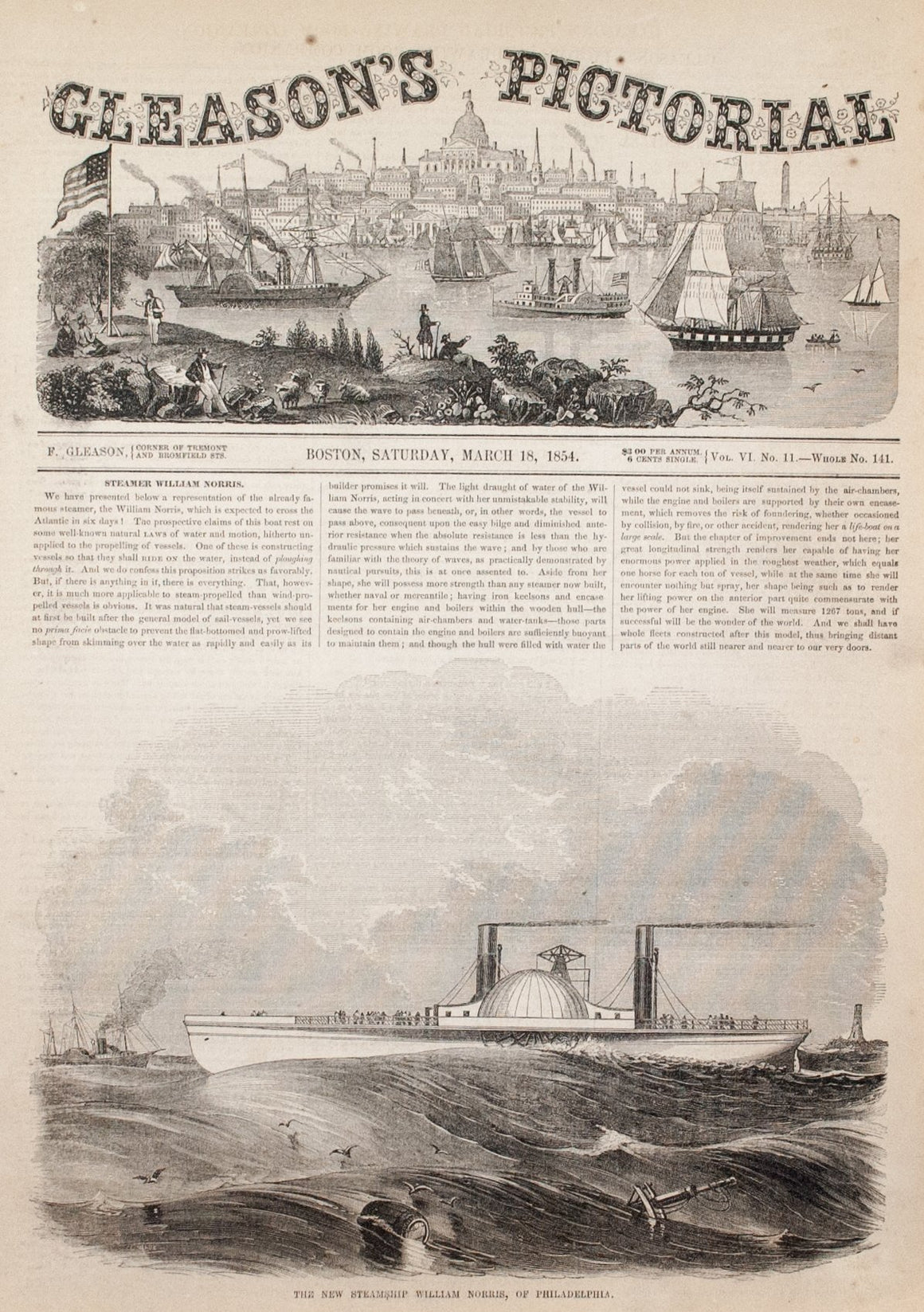 1854 Steamship William Norris - Gleason