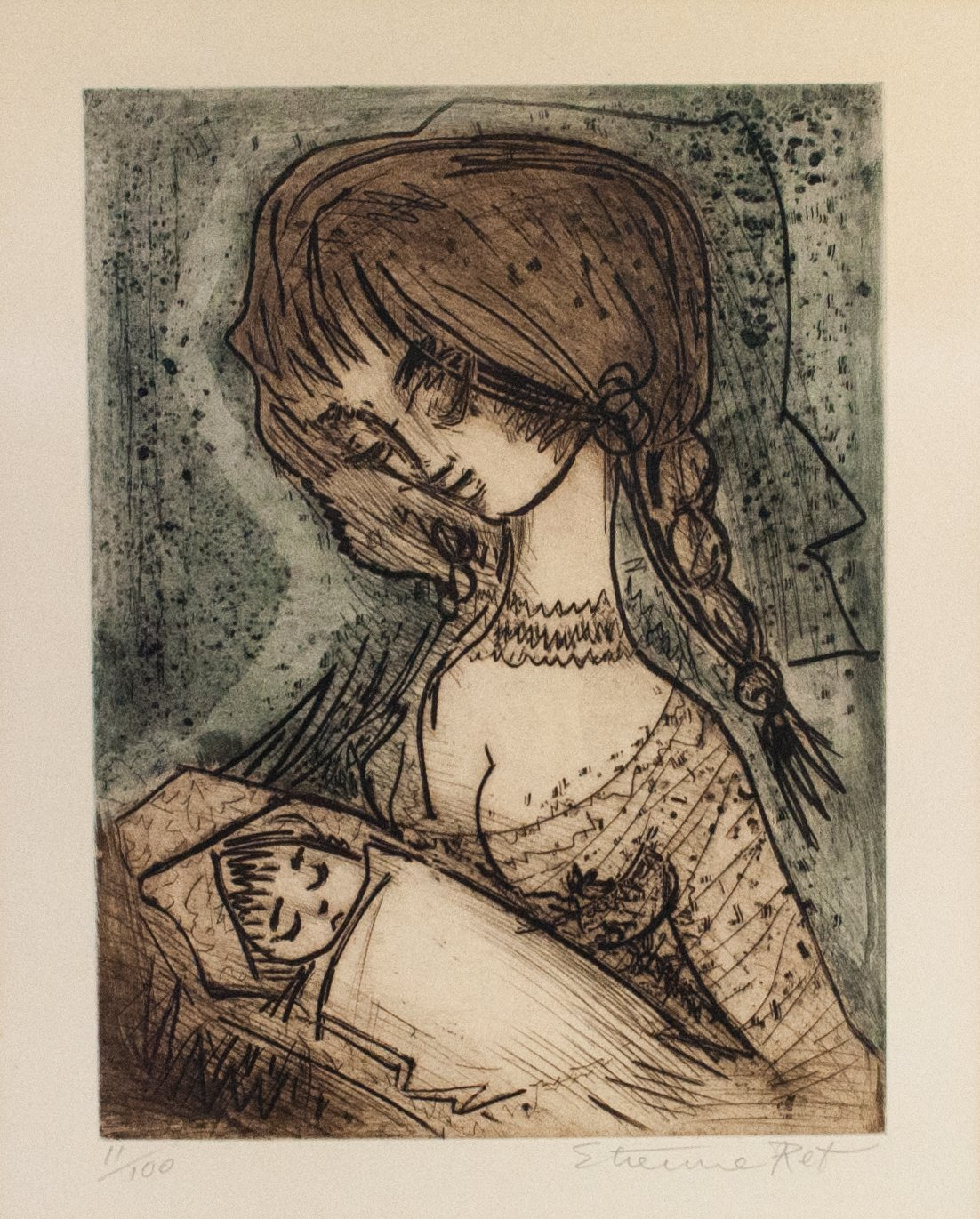 Etienne Ret - Mother and Child - Etching - c 1970s
