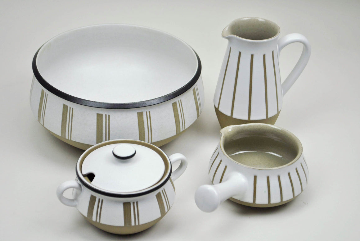 Vintage 4 pcs Denby Centerpiece Set Stoneware China England Bourne Pottery