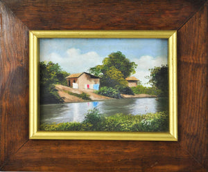 House Cottage River Landscape Oil Painting Framed Signed 11x9in