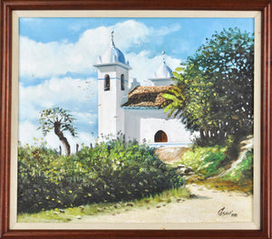White Church Spain Latin America Landscape Oil Painting Signed Framed 18x16in