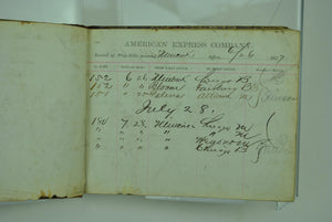 American Express Record of Way-Bills Passing Office Minonk Illinois 1877