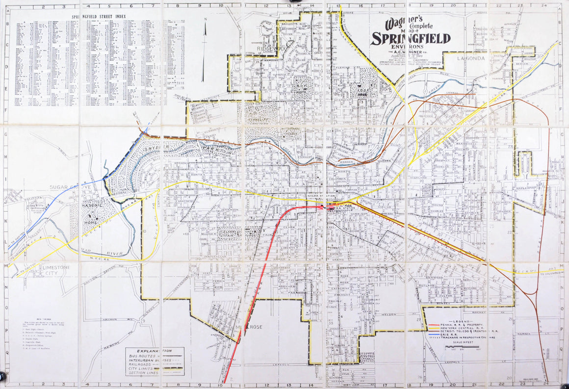 1939 Wagner's Map of Springfield