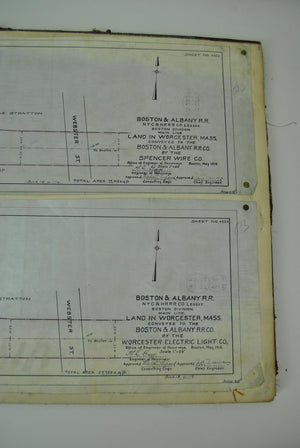 Boston & Albany Railroad Worchester Massachusetts Land Survey Drafting 1909-1910
