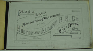 Boston & Albany Railroad Newton Massachusetts Land Survey Drafting 1888