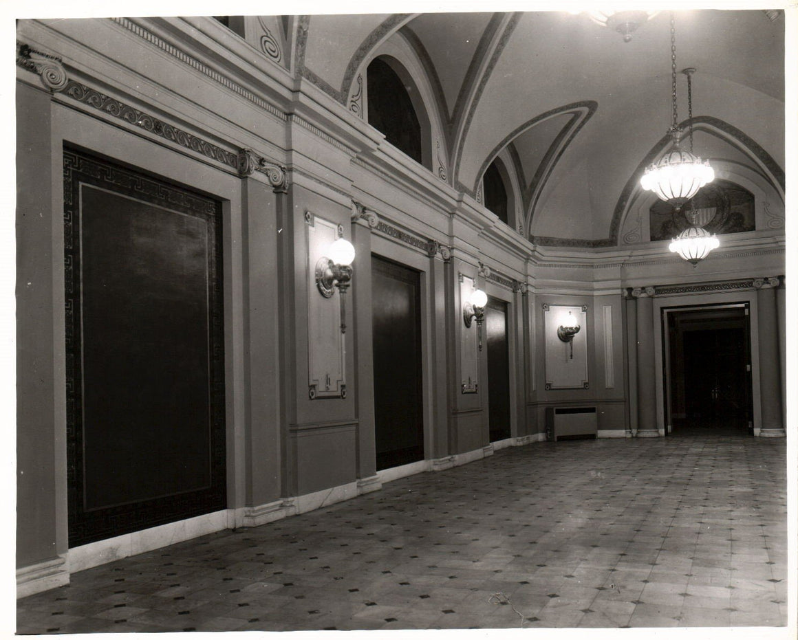 Railroad Station Beautiful Hallway Ornate Fixtures 1951 Photo B