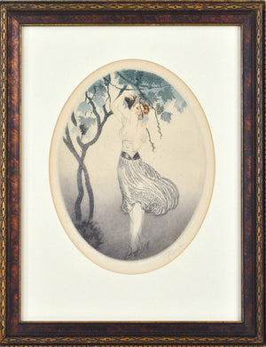 Vtg c.19th C Young Lady Framed Fashion Print Grapes Vine Signed Framed 14x11in