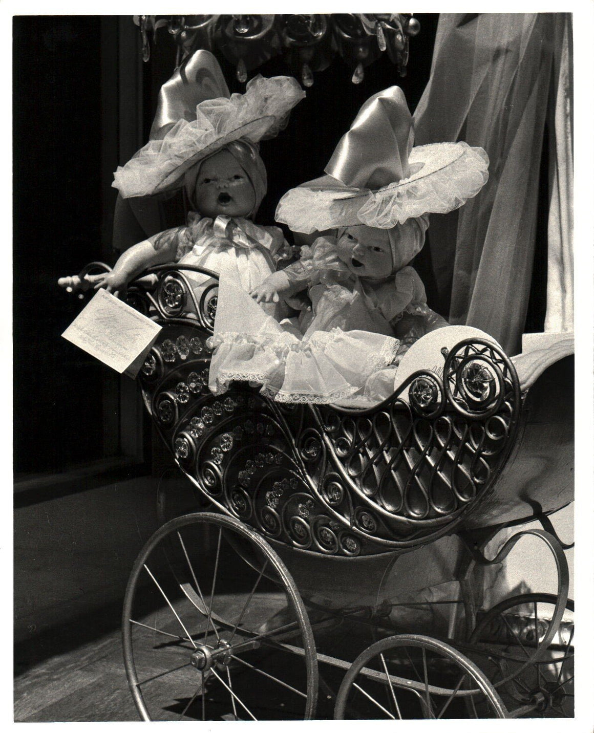 1951 Dolls in Baby Carriage John Fredericks NYC Fifth Avenue Photo