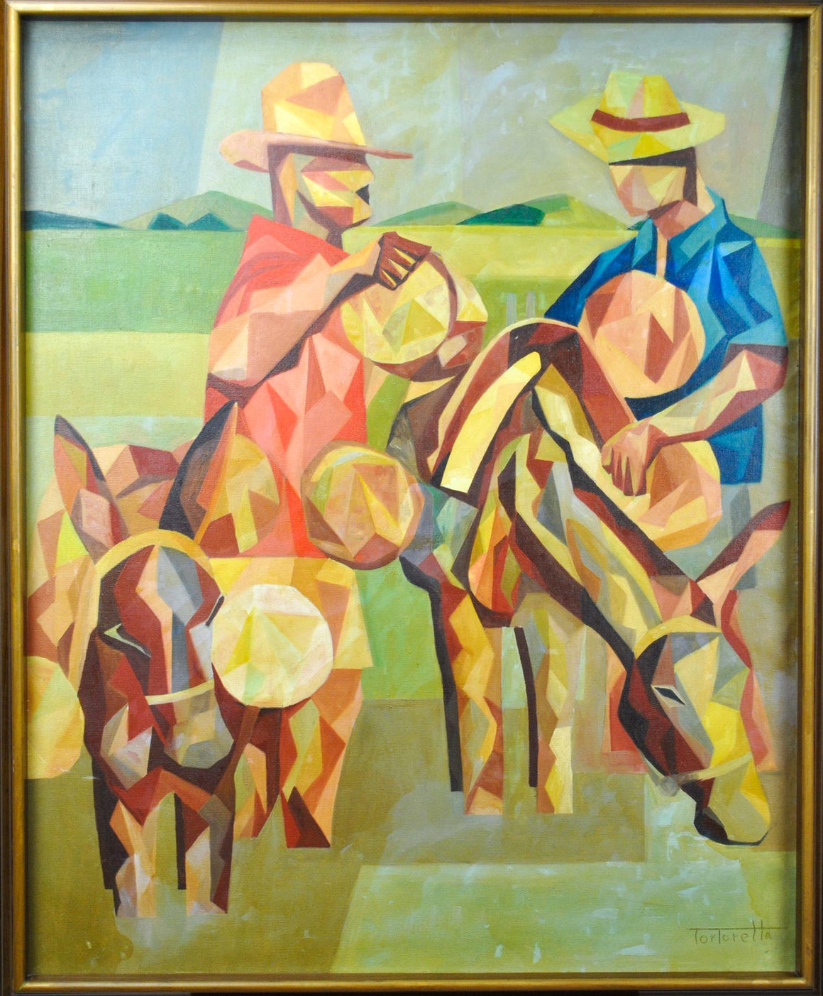 Tortorella -Two Men with Pack Animals - Oil Painting