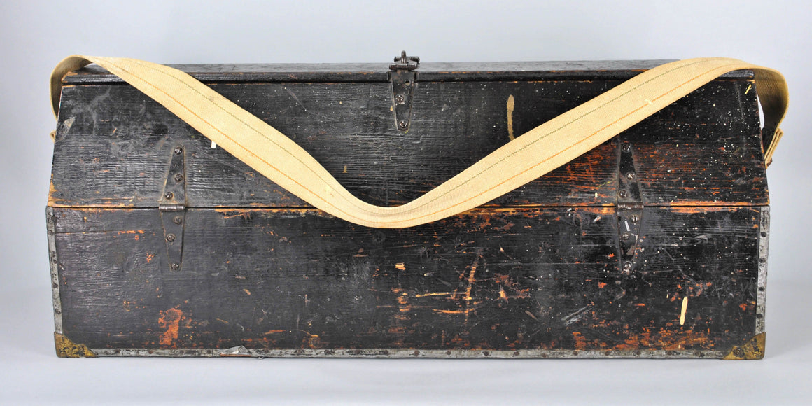 Vintage Black Carpenters Industrial Toolbox c.1940's