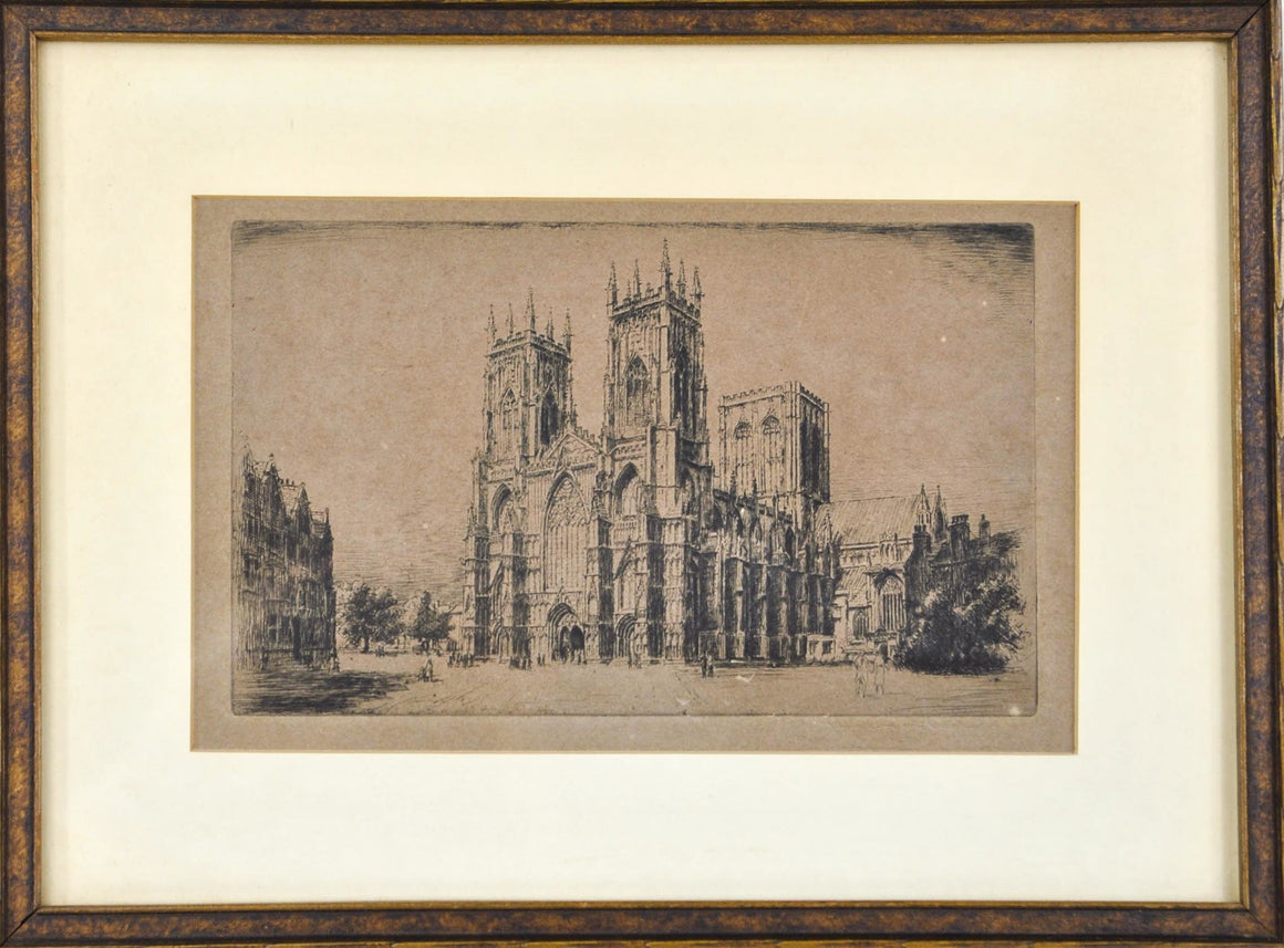 Vintage Cathedral European Building Architecture Print Framed 13x9in