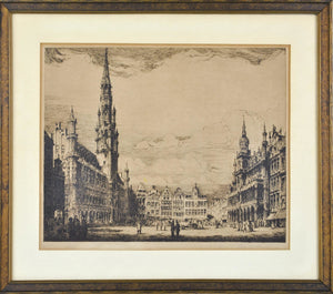 Vtg Cathedral European Street Scene Building Architecture Print Framed 13x9in