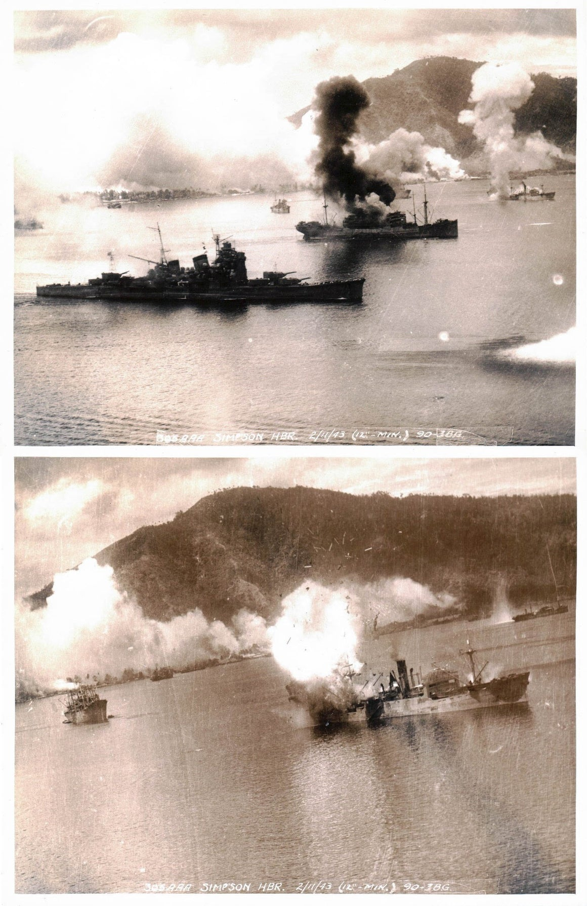 WWII Pacific Theater Simpson Harbor 1943 2 Photos