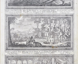 Antique Pair c. 18th Etchings of Theological Scenes Framed 15x22in